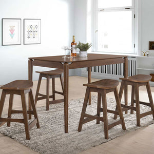 JULIA 1.2m Solid Wood Pub-Height Dining Table + 4 Pub Stools