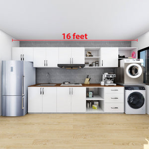 Customized 10-16-Feet Kitchen Cabinet - White **STARBUY**