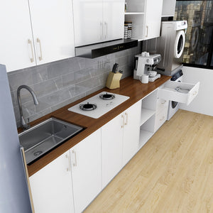 Customized 32-Feet Modern Minimalist Kitchen Cabinet - White **STARBUY** - Picket&Rail