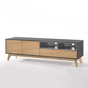 MARILYN 2-Door 2-Drawer TV Cabinet Col: Oak/Grey