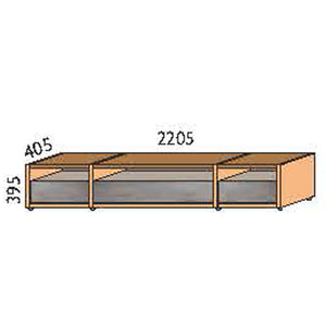 NORYA Three-Drawer TV Cabinet (2.2m) in American Black Walnut KCT1403