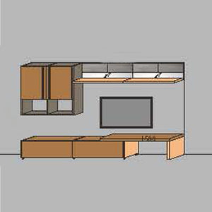 NORYA TV Entertainment Wall Cabinet (3.3m) in American Black Walnut KCRL3-11