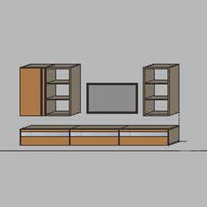 NORYA TV Entertainment Wall Cabinet (3.3m) in American Black Walnut KCRL3-12