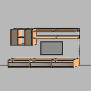 NORYA TV Entertainment Wall Cabinet (3.3m) in American Black Walnut KCRL3-13