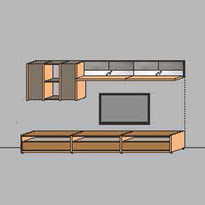 NORYA TV Entertainment Wall Cabinet (3.3m) in American Black Walnut KCRL3-14
