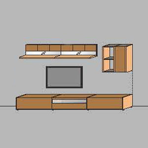 NORYA TV Entertainment Wall Cabinet (3.3m) in American Black Walnut KCRL3-16