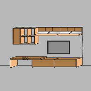 NORYA TV Entertainment Wall Cabinet (3.3m) in American Black Walnut KCRL3-17