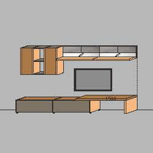 NORYA TV Entertainment Wall Cabinet (3.3m) in American Black Walnut KCRL3-18