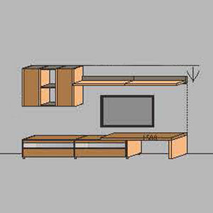 NORYA TV Entertainment Wall Cabinet (3.3m) in American Black Walnut KCRL3-19