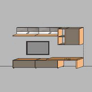 NORYA TV Entertainment Wall Cabinet (3.25m) in American Black Walnut KCRL3-20
