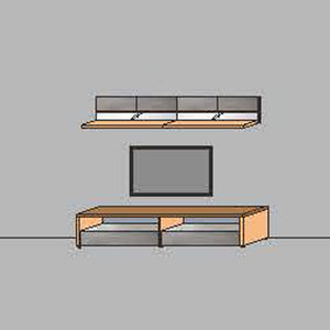NORYA TV Entertainment Wall Cabinet (2.2m) in American Black Walnut KCRL4-06