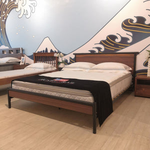 HILL Solid Durian Wood Industrial-Style Queen Bed FA-R000FN-001-(8172Q)