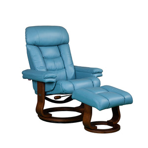 RILAXA #642 Full Top-Grain Leather Recliner Armchair + Ottoman