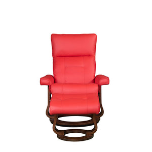 RILAXA #645 Full Top-Grain Leather Recliner Armchair + Ottoman