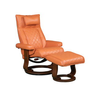 RILAXA #649 Full Top-Grain Leather Recliner Armchair + Ottoman