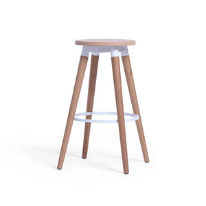 COPINE Counter-Height Stool in American White Oak + White Matt Powdercoated Steel Frame (MCS-SD17012A-OAK/WHT)