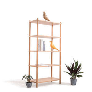 BI-COLOR Solid American Maple Wood 5-Tier Book Shelf or Display Shelf  (MCS-SD15238)