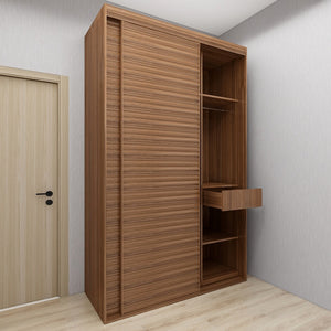 Customized 1.2m-1.5m Sliding-Door Wardrobe - Walnut **STARBUY**