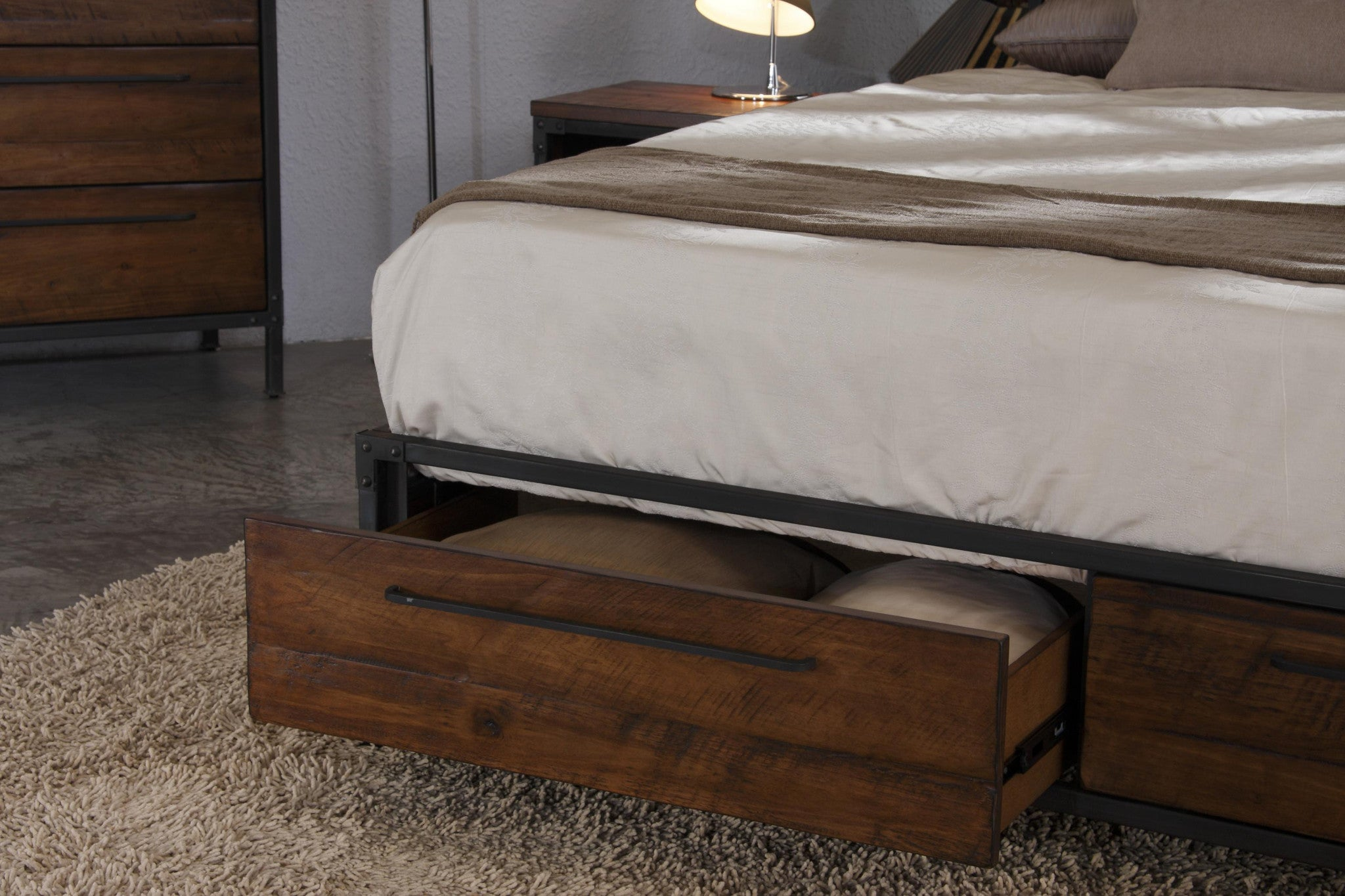 Chicago Solid Wood Queen Bed With Drawers Picket Rail Singapore S No 1 Premium Solid Wood Furniture Custom Lifestyle Retailer