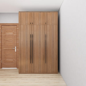 Customized 1.2m-1.5m 3-Door Swing-Door Wardrobe - Walnut **STARBUY**