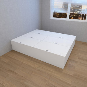 STARBUY - High Hygiene Anti-Microbial Tatami Storage Queen Bed - White/Walnut