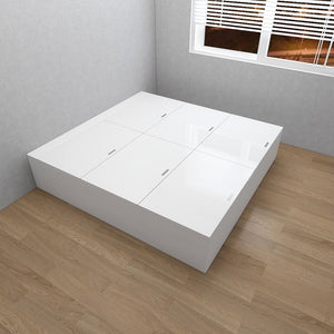 Customized 6-Door High Hygiene Anti-Microbial Tatami Storage King Bed - White/Walnut **STARBUY**