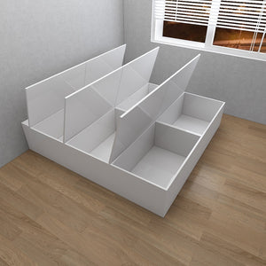Customized 6-Door High Hygiene Anti-Microbial Tatami Storage King Bed - White/Walnut **STARBUY** - Picket&Rail