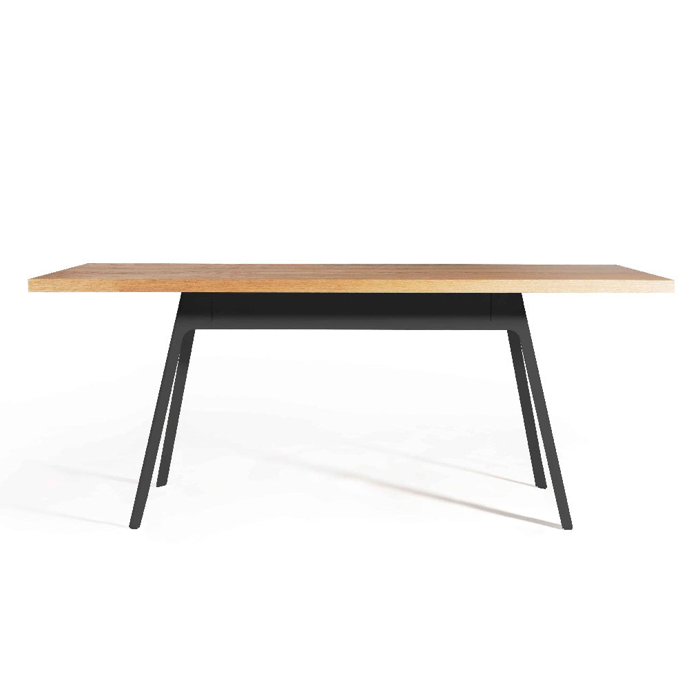 YARDBIRD 1.6m Dining Table in American Walnut + Black Powdercoated Steel Frame (MCS-SD9305-WAL) - Picket&Rail