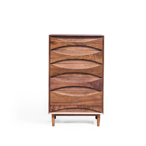 CONCAVE 0.8m 5-Drawer Tall Chest in American Walnut (MCS-CG15021B-WAL)