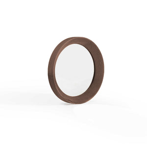 VELODROME 37cm Round Wall Mirror in Walnut (MCS-SD9163E-WAL)