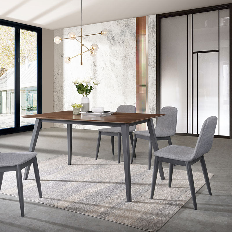 YURI 1.4m Solid Wood Dining Table + 4 Dining Chairs