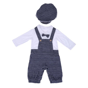 Spring Autumn Boys Clothes Newborn Baby Boy Romper Plaid Tie Strap Baby Clothing Costume Set with Hat Handsome Gentleman Suit