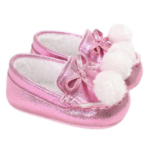 3 Colors Baby Girls Shoes Sweet Princess Bowknot Winter Warm Shoes for Kids Girls First Walkers Soft Soled Toddler Footwear