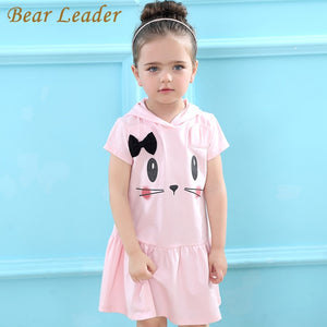 Bear Leader Girls Dress 2018 Brand Hooded Cartoon Baby Girls Dress  Active Cartoon Cats Pattern Children Clothing 2-6 year