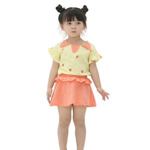 Children's Sets Girls Clothing Set  Short Sleeve Top Summer+Skirt Children Clothing Sets Causal Girls Set