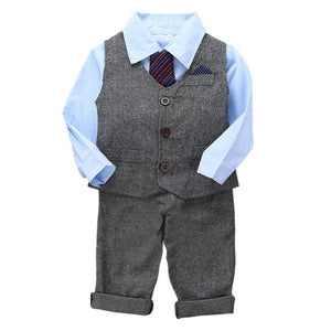 Handsome Gentleman Suit  3pcs  Boys Clothes Long Sleeve Shirt +Vest+Pants Kids Boys Clothing Sets