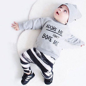 Newborn Autumn Baby Boy Clothes Letter Print Cotton T-shirt +Striped Pants + Hats Baby Girl Clothes Baby Clothing Sets