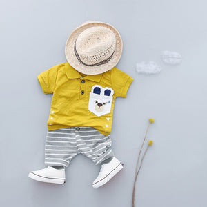 WEIXINBUY Brand Boys Clothing Children Summer Boys Clothes Cartoon Kids Boy Clothing Set T-shit+Pants Cotton Clothes Set 3 Style