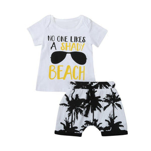 Hot Sale Boys Clothing Children Summer Boys Clothes Cartoon Kids Boy Clothing Set Letter Print T-shit+Tree Print Shorts