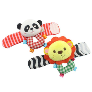 Baby Kids Toys Baby Beads Bracelet Toys Baby Rattle Garden Protect Elephant Monkey Wrist Strap Watch Strap Toy 2pcs/set