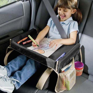 Waterproof Table Car Seat Tray Storage Table Kids Toys Infant Stroller Holder for Children Dining and Drink Table In-car