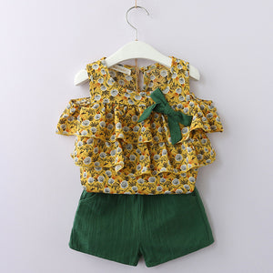 Bear Leader Girls Clothing Sets 2018 Summer Brand Girls Multi-layer Frill Sleeveless Baby Shirt + Vintage Flower Foot For 3-7 Y