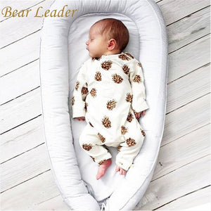 Bear Leader Baby Clothing Long Sleeve Bodysuit Infant Jumpsuit Bodysuit Summer Clothes Solid Unisex Baby Bodysuits 2Colors