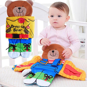 Newborn Baby Bear Wear Clothes Animal Cloth Book Toys Baby Rattle Toys Kid Early Learning Educational Learning Toys