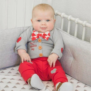 Valentines Day Baby Clothes Set Long Sleeve Cute Buttons Coat Rompers Pants 3pcs/set Newborn Infant Boys Girls Clothing Set 15