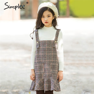 England style girls strp dress wool blend gray plaid dresses for kids girl autumn spring clothing children clothes