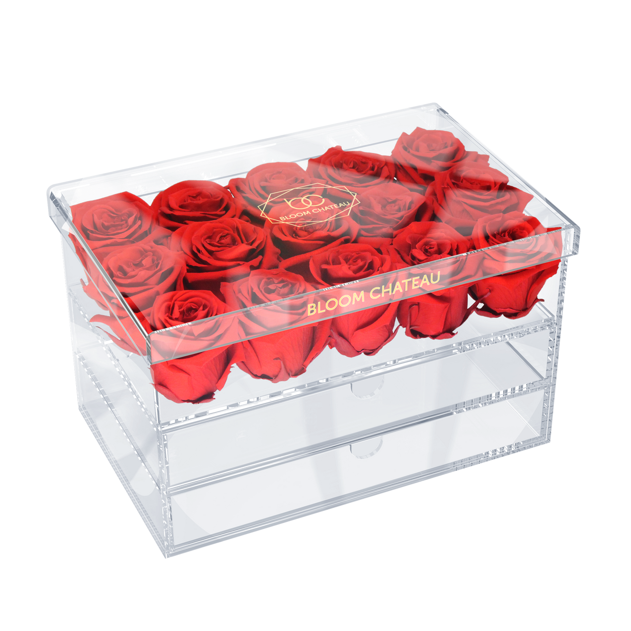 Large Crystal Box with Preserved Roses