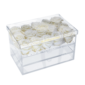 everlasting roses in clear box
