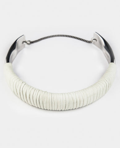 SUTURI NECKPIECE - WHITE LEATHER
