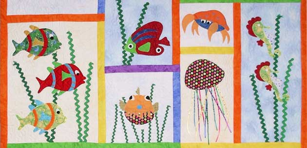 Fish quilt design for cot covers or wall hanging